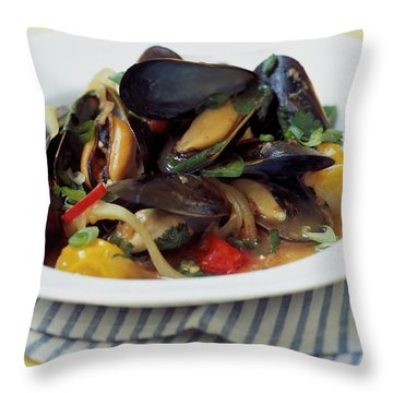 A Thai Dish Of Mussels And Papaya Throw Pillow
