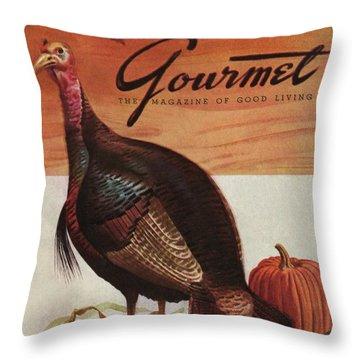 A Thanksgiving Turkey And Pumpkin Throw Pillow