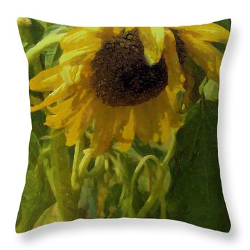 Throw Pillow featuring the photograph A Thirsty Sunflower by Michael Flood