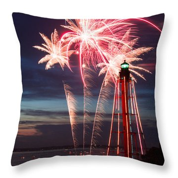 A Three Burst Salvo Of Fire For The Fourth Of July Throw Pillow by Jeff Folger