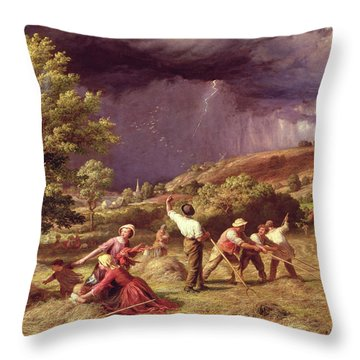 A Thunder Shower, 1859 Throw Pillow by James Thomas Linnell