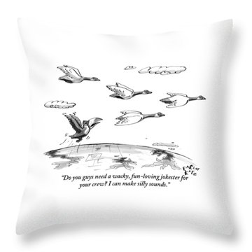 A Toucan Tries To Catch Up With Migrating Canada Throw Pillow