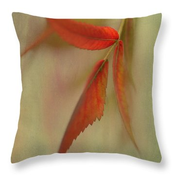 Throw Pillow featuring the photograph A Touch Of Autumn by Annie Snel