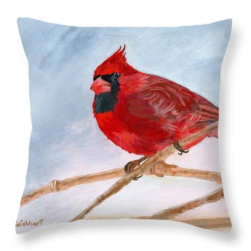 Throw Pillow featuring the painting A Touch Of Red by Lynne Reichhart