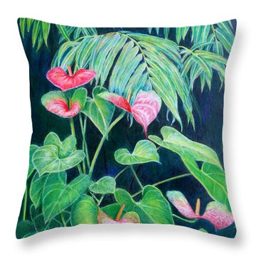 A Touch Of Red Throw Pillow by Mariarosa Rockefeller