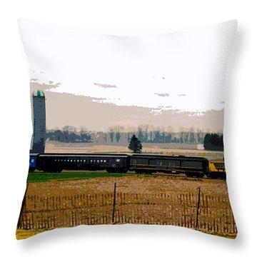 Throw Pillow featuring the photograph A Train Runs Through It by Nina Silver
