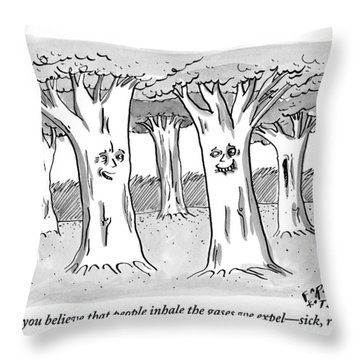 A Tree In A Forest Addresses Another Tree Throw Pillow