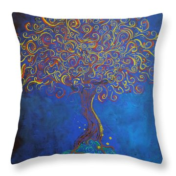 A Tree Of Orbs Glows Throw Pillow