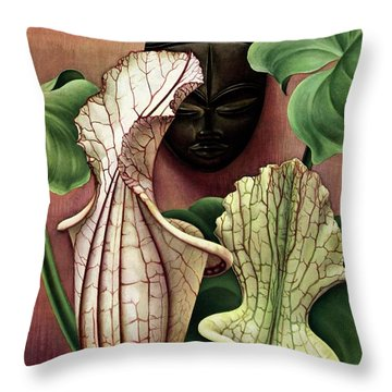 A Tropical Flower And An African Mask Throw Pillow