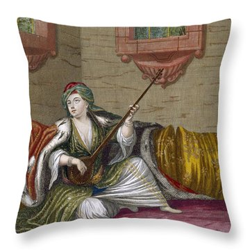A Turkish Girl Playing The Tehegour Throw Pillow by French School