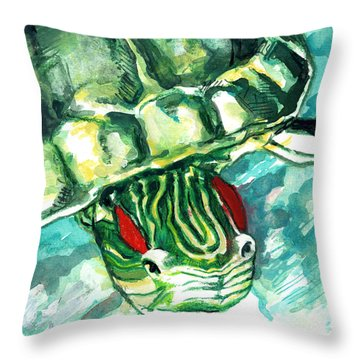 A Turtle Who Likes To Eat Fish Throw Pillow