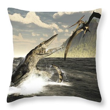 A Tylosaurus Jumps Out Of The Water Throw Pillow