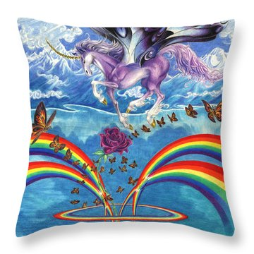 A Unicorn's Love Throw Pillow by Barry Munden
