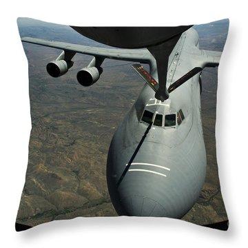 A U.s. Air Force Kc-135r Stratotanker Throw Pillow by Stocktrek Images