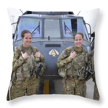 A U.s. Army All Female Crew Throw Pillow