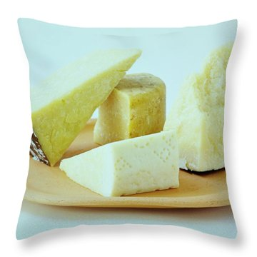 A Variety Of Cheese On A Plate Throw Pillow