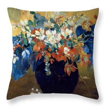 A Vase Of Flowers Throw Pillow by Paul Gauguin