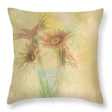 A Vase Of Gerbera Daisies In The Sun Throw Pillow by Diane Schuster