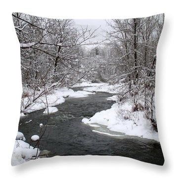 A Vermont Stream In Winter Throw Pillow