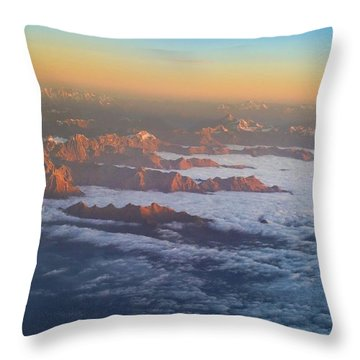 Flying Into Milan Throw Pillow