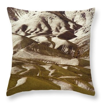 A View Of A Mountainside With Melting Throw Pillow