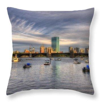 A View Of Back Bay - Boston Skyline Throw Pillow by Joann Vitali