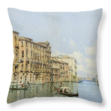 A View Of The Grand Canal With Palazzo Throw Pillow