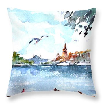 A View Of The Historical Peninsula From Uskudar - Istanbul Throw Pillow