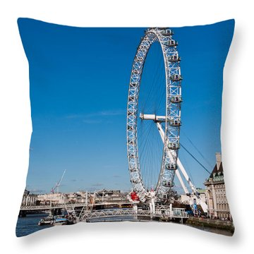 A View Of The London Eye Throw Pillow