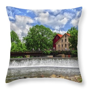 Throw Pillow featuring the photograph A View Of The Mill From The River by Debra Fedchin