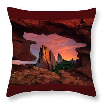 A View Through Window Rock At Siamese Twins Throw Pillow by John Hoffman