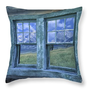 A View To The Tetons Throw Pillow by Sandra Bronstein