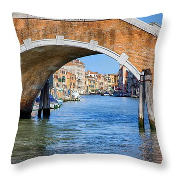 Throw Pillow featuring the photograph A View Under The Bridge by Uri Baruch