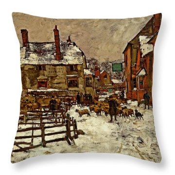 A Village In The Snow Throw Pillow by Henry King