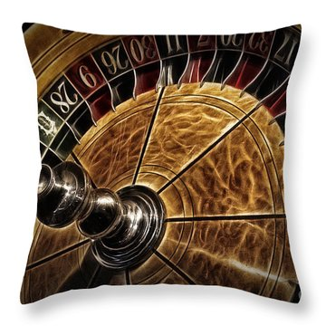 Throw Pillow featuring the photograph A Virginia City Roulette Wheel by Brad Allen Fine Art