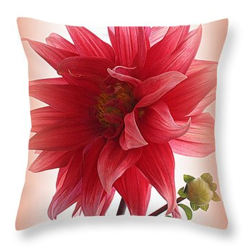 A Vision In  Coral - Dahlia Throw Pillow
