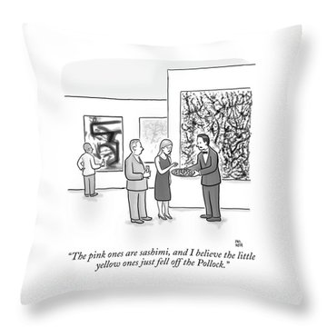 A Waiter Is Seen Speaking With A Woman In An Art Throw Pillow