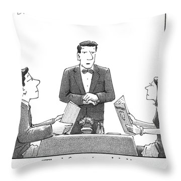 A Waiter Makes A Suggestion To A Man And Woman Throw Pillow