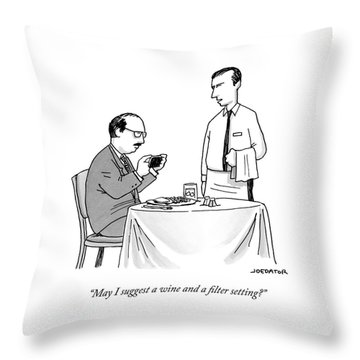 A Waiter Speaks To A Customer Who Is Taking Throw Pillow