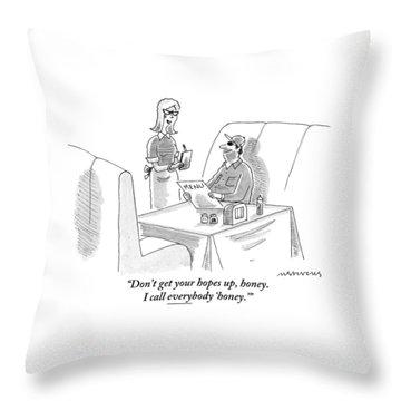 A Waitress Addresses A Man Sitting Throw Pillow