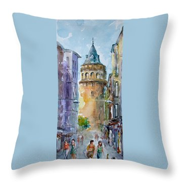 Throw Pillow featuring the painting A Walk Around Galata Tower - Istanbul by Faruk Koksal