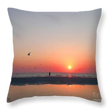 A Walk At Sunset Throw Pillow by Mariarosa Rockefeller
