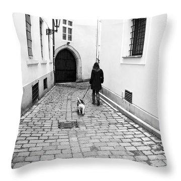 A Walk In Prague Throw Pillow by John Rizzuto