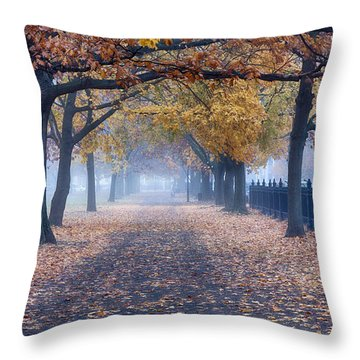 Throw Pillow featuring the photograph A Walk In Salem Fog by Jeff Folger