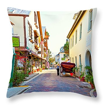 A Walk In St Augustine Throw Pillow by Michelle Wiarda