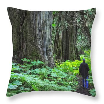 A Walk In The Ancient Forest Throw Pillow