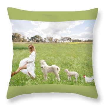 A Walk In The Country Throw Pillow by Linda Lees