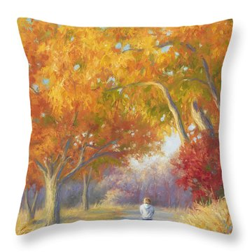 A Walk In The Fall Throw Pillow