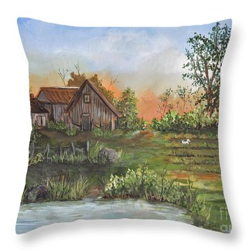 A Walk In The Garden Throw Pillow by Reb Frost