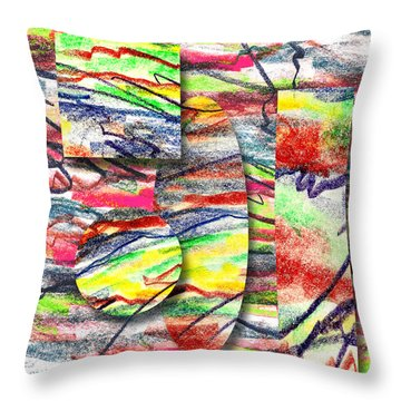 Throw Pillow featuring the drawing A Walk In The Park  by Peter Piatt